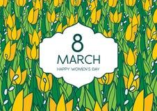 与郁金香的贺卡,横向格式 国际Women's天 3月8日 免版税库存图片