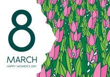 与郁金香的贺卡,横向格式 国际Women's天 3月8日 库存照片
