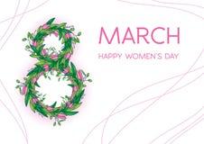 与郁金香的贺卡,横向格式 国际Women's天 3月8日 库存图片