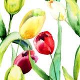 与郁金香花的无缝的墙纸 免版税库存图片