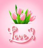 与郁金香花的美丽的卡片 免版税图库摄影
