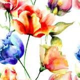 与郁金香花的风格化无缝的样式 库存照片