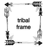 与部族boho标志的框架 免版税库存照片