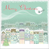 与都市风景和圣诞老人的圣诞卡背景 图库摄影