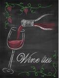 与酒杯和酒瓶的酒类一览表在黑板backgrou 库存照片