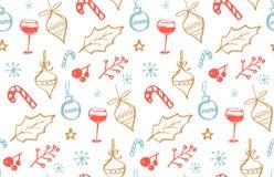 与酒杯的乱画例证的寒假无缝的样式 免版税库存图片