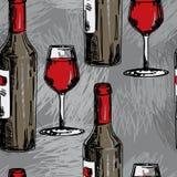 与酒瓶和酒杯的无缝的样式 库存照片