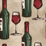 与酒瓶和酒杯的无缝的样式 图库摄影