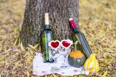 与酒瓶和玻璃-浪漫日期的秋天野餐 库存图片