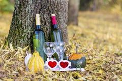 与酒瓶和玻璃-浪漫日期的秋天野餐 免版税库存图片
