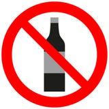 与酒精瓶的禁止的符号 向量例证