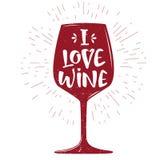 与酒bocal剪影的印刷术剪影和字法我爱酒 在减速火箭的葡萄酒样式的海报海报的,横幅 库存照片