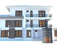 与酸巨大的外面电池的能量的未来住宅公寓 免版税库存图片