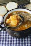 与酸性稀奶油的红色罗宋汤 库存图片