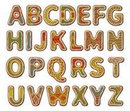 与釉的姜饼字母表 免版税库存图片