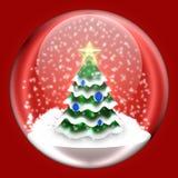 与里面圣诞树的发光的球 免版税库存图片