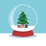 与里面圣诞树的雪地球 免版税库存照片