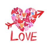 与里面小红色和桃红色心脏和箭头的水彩手画心形 向量例证