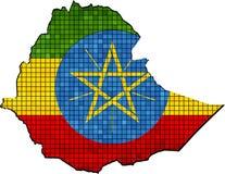 与里面旗子的埃塞俄比亚地图 库存例证