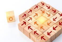 与里面木立方体和红色箭头的个性概念 免版税库存图片