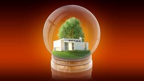 与里面现代白色房子的透明球形球 3d翻译 免版税图库摄影