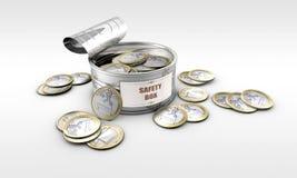 与里面硬币的锡罐 免版税图库摄影