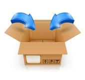 与里面箭头的被开张的配件箱 库存图片