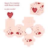 与里面红色心脏的有趣的方形框模板 免版税库存照片