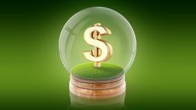 与里面美元的符号的透明球形球 3d翻译 免版税库存照片