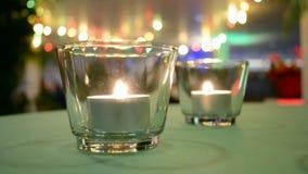 与里面蜡烛火的少量玻璃,室内装璜, 影视素材