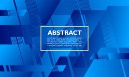 与重叠的形状的抽象背景横幅模板在蓝色 向量例证
