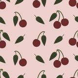 与重复樱桃的无缝的背景样式 免版税图库摄影