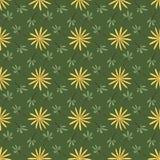 与重复花和叶子的无缝的背景样式 免版税库存图片