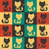 与重点的无缝的模式猫 向量例证