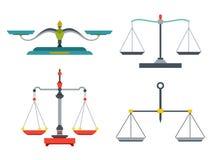 与重量和相等的平底锅的平衡标度 测量大量的设备,比较两台对象、家和实验室仪器 向量例证