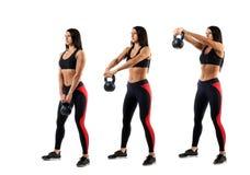 与重量的锻炼在二头肌 免版税库存照片
