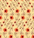 与野生桔子花、肌力分支和红色莓果的水彩无缝的样式在黄色背景 免版税库存照片