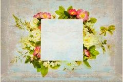 与野生玫瑰和白花的老剪贴薄页 免版税库存图片
