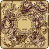 与野生玫瑰和蝴蝶,手图画的葡萄酒框架 Vec 库存照片