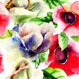 与野花的原始的无缝的墙纸 免版税库存照片