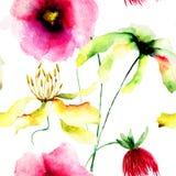 与野花的无缝的墙纸 库存照片