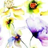 与野花的无缝的墙纸 免版税库存图片