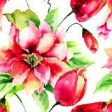与野花的无缝的墙纸 免版税图库摄影