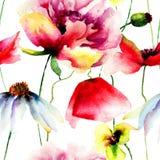 与野花的无缝的墙纸 免版税库存照片