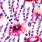 与野花的无缝的样式 库存照片