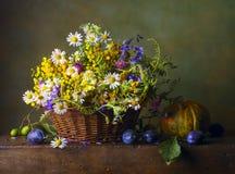 与野花的静物画 库存照片