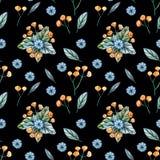 与野花花束的无缝的样式  皇族释放例证