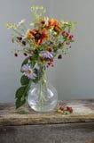 与野花花束的葡萄酒静物画在花瓶的 库存图片