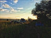 与野营的旅行 免版税库存照片