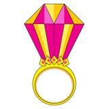 与金刚石传染媒介例证的桃红色金戒指 库存照片